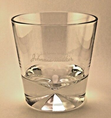 Vtg Johnnie Walker Black Label Scotch Whisky Diamond Prism Base Rocks Glass