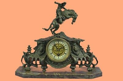 Bronco Buster Solid Bronze Collectible Sculpture Statue by F. Remington Clock