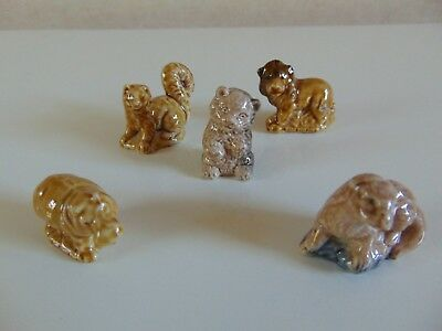 Five Rare Wade England Animal Miniatures All Pictured Nice Collection Starter