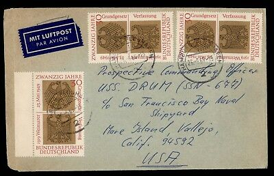 DR WHO 1969 HAMBURG GERMANY CANCEL AIRMAIL TO USA CONSTITUTION d30903