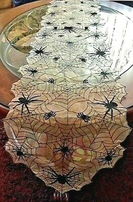 """Halloween Decor Spider Web Semi Sheer Table Runner Embroidered Fabric 67""""x 13"""""""