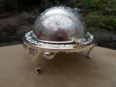 Vintage Silver Plate Dome Topped Caviar Butter Dish  Lovely Unused Condition
