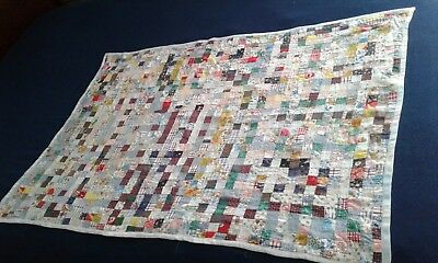 "Vintage Small Throw Quilt, Tiny 1"" Squares, Multi-Color, 50"" x 34"""