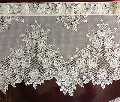 Heritage Lace Cream Tea Rose Window Curtain Valance 60 X 17