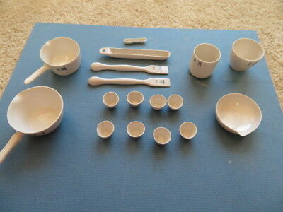 Vintage Coors Laboratory Vaporating Dishes, Cups, Ladle And Other Devices