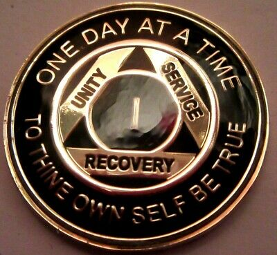 Black Gold Alcoholics Anonymous AA 1 Year Medallion Token Coin Chip Sober