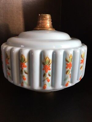 Victorian oil lamp reservoir hand painted