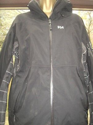 Helly Hansen Boys Black Hooded Jacket In Good Used Condition - Large