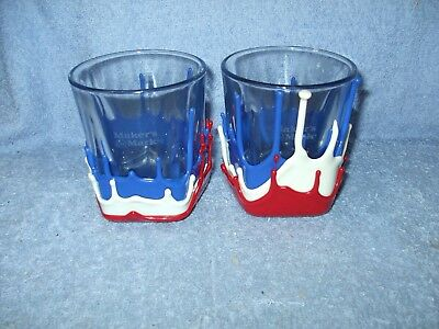 """Makers Mark """"Rock the Vote"""" Bottle Red, White, Blue Seal glasses"""