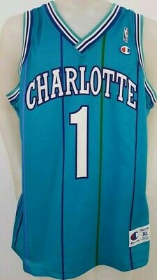 47d592299 Champion Charlotte Hornets Bogues NBA jersey  1 Teal pinstriped Rice XL 48  MINT