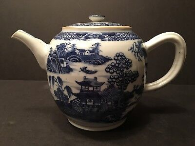 "Antique Chinese Large Blue and White Teapot, 7"" high,  late 18th Century"