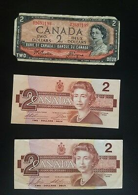 Set Of Three Canadian 2 Dollar Bills