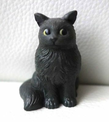 FIGURINE CHAT gris yeux rond adorable RARE !!! Cat statut NEUF