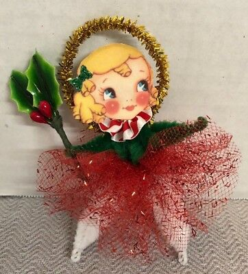 Handmade Chenille Pipe Cleaner Christmas Holly Girl Decoration Ornament