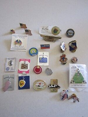 Vtg. Lot Of 25 Military pins, teamster, sterling, flags, sterling, pendants
