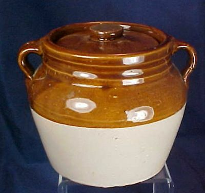 Vintage Brown White Stoneware Bean Pot With Lid Two Handles Red Wing
