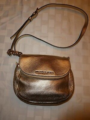 e689f011181390 Michael Michael Kors Bedford Pebble Leather Flap Front Crossbody Pale Gold