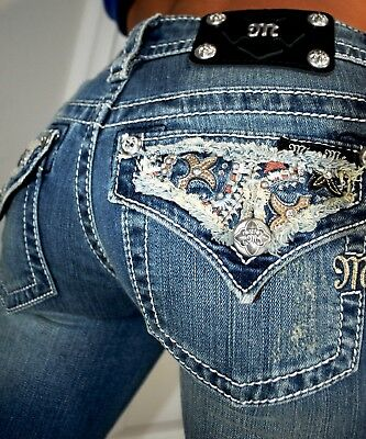 Miss Me Buckle {Signature Boot Cut Crystal Embellished Jeans} Womens 26 x 34 New