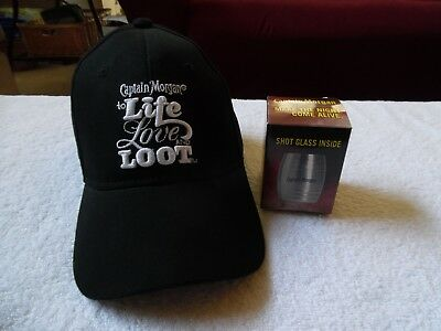 Captain Morgan To Life Love And Loot Hat + Stainless Steel Shot Glass