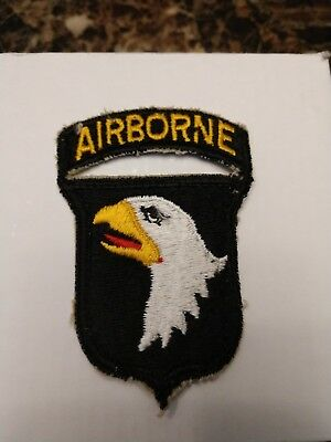 Orig WW2 US Army 101st Airborne Division Screaming Eagles Patch Attached Tab