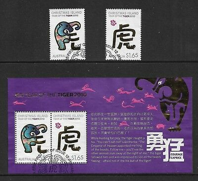 CHRISTMAS ISLAND 2010 Year of the Tiger mini sheet + set, used, first day cancel