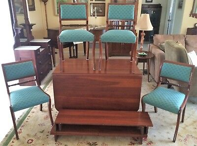 Consider H. Willett Elswick Cherry Drop Leaf Dining Table, 3 Leaves & 4 Chairs