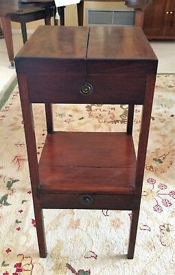 Antique Georgian Mahogany Flip Open Top Washstand Shaving Stand Table circa 1780