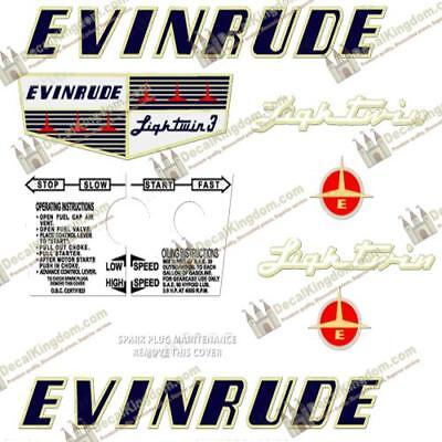 Evinrude 1973 18hp Outboard Decal Kit 3M Marine Grade
