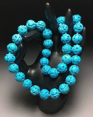 Fine Chinese Blue Turquoise Stone Carved Shou Bead Necklace 20 Inch 103 Grams