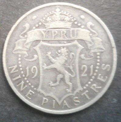 Cyprus 1921 KGV 9 Piastre Silver Coin Nice Better detail & grade part Lustre
