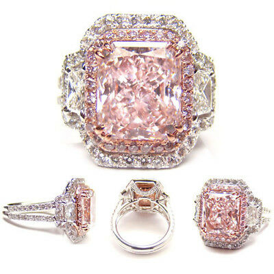 Vintage Jewelry Silver Plated Pink Sapphire Birthstone Wedding Engagement Ring