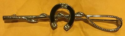 Fox Hunt Hunting Whip And Enamel Horse Shoe Silver Metal Pin 2