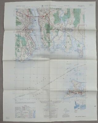 1958 US ARMY Corps of ENGINEERS MAP of NEW LONDON CT / NY COLD WAR Vintage