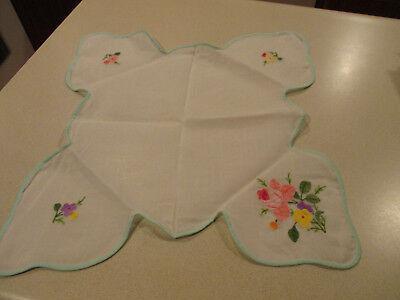 Vintage Sheer Linen Applique Bread Basket Liner