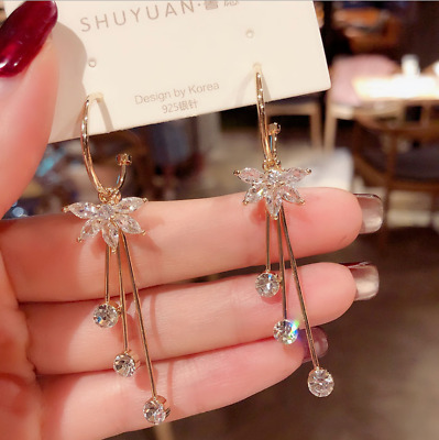 Women Fashion Bohemian Alloy Long Tassel Drop Fringe Boho Dangle Earring Jewelry