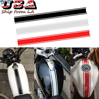 3x 50cm Motorcycle Tank Cowl Vinyl Stripe Pinstripe Decal Sticker For Cafe Racer