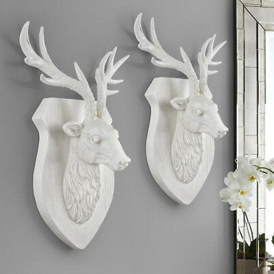 3D Hand Carved Wall Mounted Antlers Deer Stags Head Hanger Resin Home Decor Gift