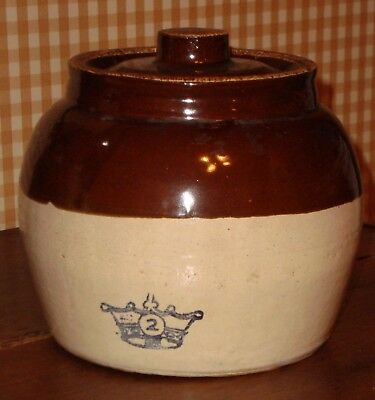 vintage #2 ceramic stoneware brown bean pot crock with handle and lid