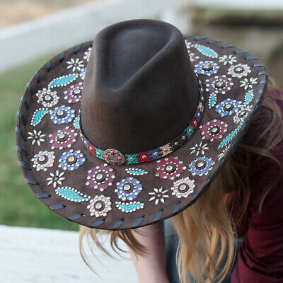 """New """"Country Love Song"""" Premium Wool Felt with Decorated Brim - BH0751CH Cowboy"""