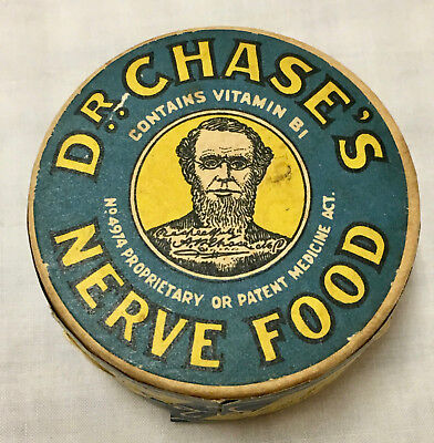 Dr Chase's Nerve Food, Antique Pharmaceutical Ad Round Pill Box, Oakville Canada