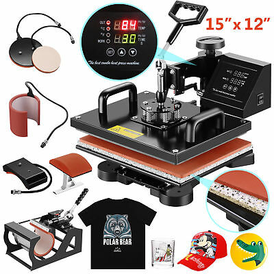 5 in 1 Heat Press Machine Swing Away Digital Sublimation T-Shirt /Mug/Plate Hat(