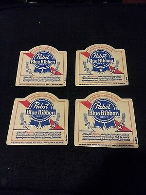 Vintage Pabst Blue Ribbon Beer Coasters Lot of 4 Jacob Best Milwaukee NOS