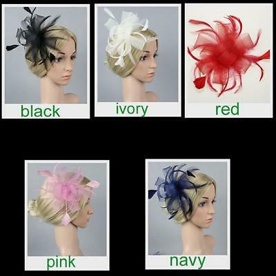 Wedding Races Party Fascinator Veil Net Hat with Feathers Accessories Classic FW