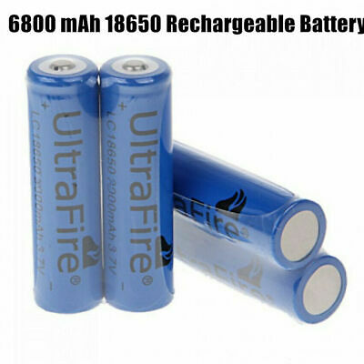 2pcs 18650 6800mAh 3.7v Li-ion Rechargeable Torch Battery Button Top Flashlight