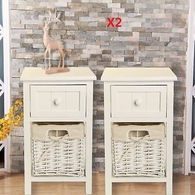 Pair of Shabby Chic White Bedside Units Tables Drawers with Wicker Storage