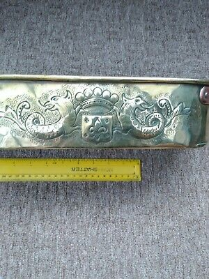 Arts and crafts  antique brass and  copper planter newlyn style mythical dragons