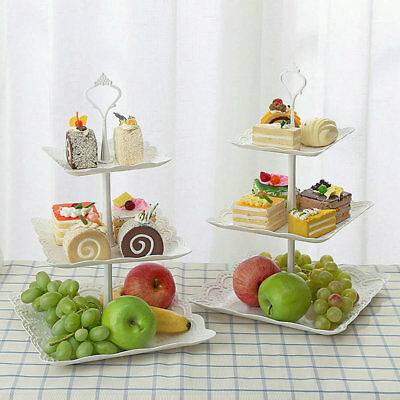 3 Tier Cake Stand Afternoon Tea Wedding Plates Party Embossed Tableware 2018