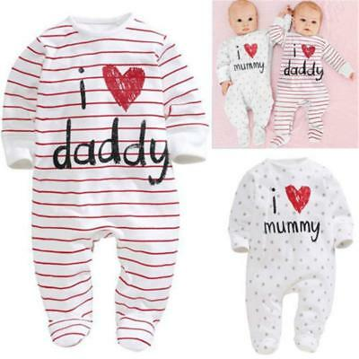 BABY Romper I Love Mummy Daddy Custom Bodysuit Cute Funny Gift Mum Dad FW