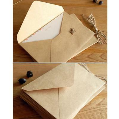 100x Vintage Multifunction Kraft.Paper Envelope.Gift Card for Wedding Birthday~-