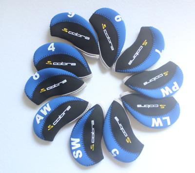 10PCS Golf Iron Protector Covers for Cobra Club Velcro Headcovers Blue&Black